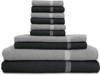 Swiss Republic Cotton Bath, Hand & Face Towel Set 2 Bath Towels, 2 Hand Towels, 6 Face Towels, Dark Grey, Light Grey