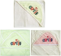 Hatchlingz Cotton Baby Towel (3 Hooded Towel, White, Light Green, Pink & White)