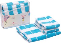 Skumar Love Touch Cotton Bath & Hand Towel Set 1 Bath Towel, 2 Hand Towel, White, Turquoise Blue