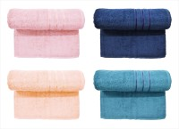 Bombay Dyeing Cotton Set Of Towels (4 MEDIUM TOWEL SET, Pink, Dark Blue, Peach, Light Blue)