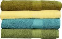 Rakshan Cotton Bath Towel Set (Pack Of Towel 4, Green, Cream, Turquoise, Bottle Green)