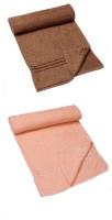 HomeTex Cotton Bath Towel, Bath Towel Set, Set Of Towels (2 Bath Towel, Dark Brown, Peach)
