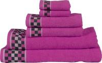RR Textile House Cotton Bath, Hand & Face Towel Set 6, Purple