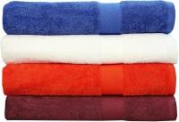Rakshan Cotton Bath Towel Set (Pack Of Towel 4, Blue, White, Orange, Maroon)