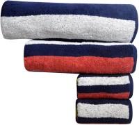 Bombay Dyeing Cotton Bath Towel 1 Bath Towel, 1 Medium, 2 Hand Towel, Dark Blue, Red
