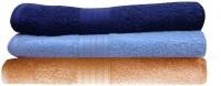 India Furnish Cotton Bath Towel Set 3 Bath Towels, Sky Blue, Navy Blue, Peach