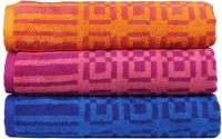 Trident Cotton Bath Towel Set 3 Bath Towels, Blue, Orange, Pink