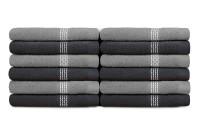 Swiss Republic Cotton Face Towel 12 Face Towel, Dark Grey, Light Grey