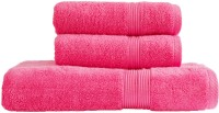 Just Linen Quintessential Combo Pack Pink Cotton Plain Bath & Hand Towel Set (Pack Of 3)