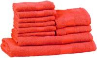 Trident Neon Cotton Bath, Hand & Face Towel Set (1 Bath Towel, 1 Ladies Bath Towel, 2 Hand Towels, 6 Face Towels, Orange)