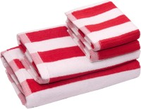 Skumars Love Touch Cotton Bath & Hand Towel Set 2 Bath Towels And 2 Hand Towels, Red