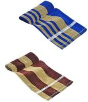ShopSince Cotton Bath Towel ShopSince Blue & Brown Cotton Bath Towels Set Of 2, Multicolor