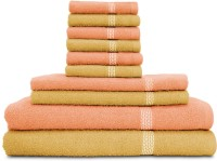 Swiss Republic Cotton Bath, Hand & Face Towel Set (2 Bath Towels, 2 Hand Towels, 6 Face Towels, Light Brown, Light Pink)