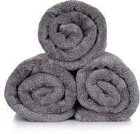 CLOTH FUSION Cotton Bath Towel Set Of 3 Charcoal Bath Towel, Grey