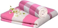 Handloomhub Collection Of Floral Design Cotton Bath Towel (2 Bath Towels, Pink, White)