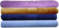 India Furnish Cotton Hand Towel Set 4 Bath Towels, Purple, Gold, Sky Blue, Navy Blue