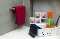 HomeStrap Cotton Hand Towel Set 2 Hand Towel, Navy Blue, Red