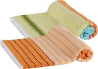 Goodway Stripes Cotton Bath Towel (Pack Of 2 Bath Towel, Green, Orange) - BTWE6PWR4MGUHHFG
