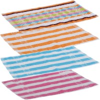 Goodway Stripes Cotton Hand Towel Pack Of 4 Gym Towel, Blue