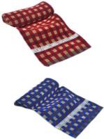 ShopSince Cotton Bath Towel ShopSince Red & Blue Cotton Bath Towels Set Of 2, Multicolor