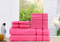 Story@home Cotton Bath, Hand & Face Towel Set 2 Bath Towel, 2 Hand Towel, 10 Face Towel, Pink