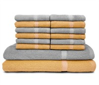 Swiss Republic Cotton Bath & Face Towel Set (2 Bath Towels, 12 Face Towels, Light Brown, Light Grey)