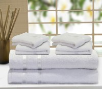 Story@home Cotton Bath & Hand Towel Set 2 Pc Bath Towel, 4 Pc Hand Towel, White