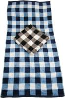 The Fancy Mart Cotton Bath Towel Set Of 2 Big Towels, Black, Blue