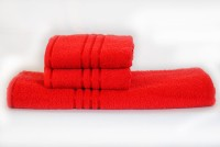 Trident Cotton Bath & Hand Towel Set 1 Bath, 2 Hand Towel, Red
