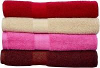 Rakshan Cotton Bath Towel Set (Pack Of Towel 4, Red, Cream, Pink, Brown)