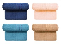 Bombay Dyeing Cotton Set Of Towels (4 MEDIUM TOWEL SET, Dark Blue, Peach, DARK GREY, Brown)