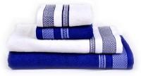 RR Textile House Cotton Bath Towel, Hand Towel, Face Towel Set 1 Bath Towel, 1 Ladies Towel, 2 Hand Towel, 2 Face Towel, Blue