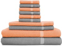 Swiss Republic Cotton Bath, Hand & Face Towel Set (2 Bath Towels, 2 Hand Towels, 6 Face Towels, Light Grey, Light Pink)