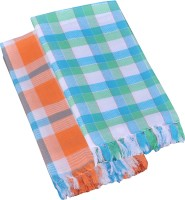 Suam Cotton Bath Towel Pack Of 2 Bath Towel, Orange, Blue