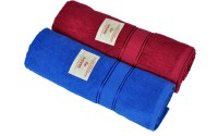 Sakshi Cotton Bath Towel Set 1 Dark Blue Cotton Bath Towel, 1 Maroon Cotton Bath Towel, Multicolor