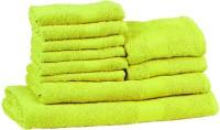 Trident Neon Cotton Bath, Hand & Face Towel Set (1 Bath Towel, 1 Ladies Bath Towel, 2 Hand Towels, 6 Face Towels, Green)
