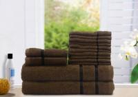 Story@home Cotton Bath, Hand & Face Towel Set 2 Bath Towel, 2 Hand Towel, 10 Face Towel, Brown
