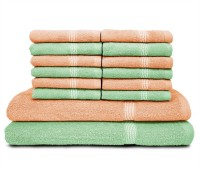 Swiss Republic Cotton Bath & Face Towel Set (2 Bath Towels, 12 Face Towels, Light Green, Light Pink)