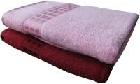 YNA Designer Cotton Bath Towel Set (2 Bath Towels, Maroon, Pink)