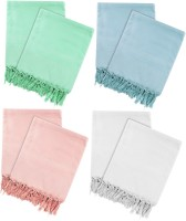 Just Linen Cotton Bath Towel 4 Pairs Of Woven Bath Towels, White, Pink, Sea Green And Sky Blue - BTWE8YZXZVB6RMSG