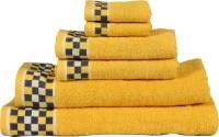 RR Textile House Cotton Bath, Hand & Face Towel Set 6, Yellow