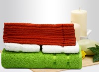 Story@home Cotton Bath, Hand & Face Towel Set 10 Pc Face Towel + 2 Pc Hand Towel + 1 Pc Bath Towel, Orange
