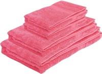 Pipal Cotton Set Of Towels 1 Ladies Bath Towel, 1 Gents Bath Towel, 2 Hand Towel, Pink