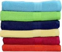 Rakshan Cotton Bath Towel Set (Pack Of Towel 6, Blue, Green, Blue, Cream, Red, Orange)