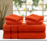 Story@home Cotton Bath & Hand Towel Set 2 Pc Bath Towel, 4 Pc Hand Towel, Orange