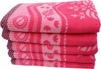 Mandhania Cotton Set Of Towels 5 Bath Towels, Pink