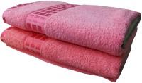 YNA Designer Cotton Bath Towel Set (2 Bath Towels, Pink, Pink)
