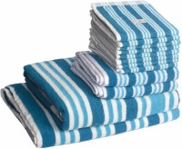 Skumars Love Touch Cotton Bath, Hand & Face Towel Set 1 Gents Bath Towel, 1 Ladies Bath Towel, 2 Hand Towels, 8 Face Towels, Turquoise Blue