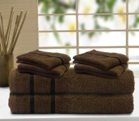 Story@home Cotton Bath & Hand Towel Set 2 Pc Bath Towel, 4 Pc Hand Towel, Brown