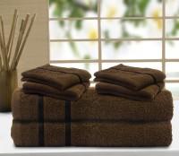 Story@home Cotton Bath & Hand Towel Set 2 Pc Bath Towel, 4 Pc Hand Towel, Brown
